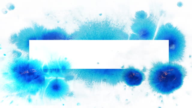 blue ink splatter on white. - dipinto ad acquerelli video stock e b–roll