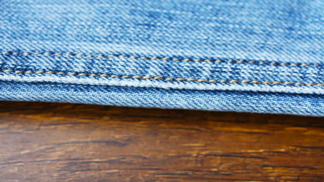 4K Blue Jeans Texture Close up video