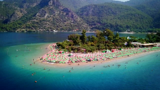 Blue Lagoon in Oludeniz, Turkey Aerial footage of Blue Lagoon in Oludeniz, Turkey turkey stock videos & royalty-free footage