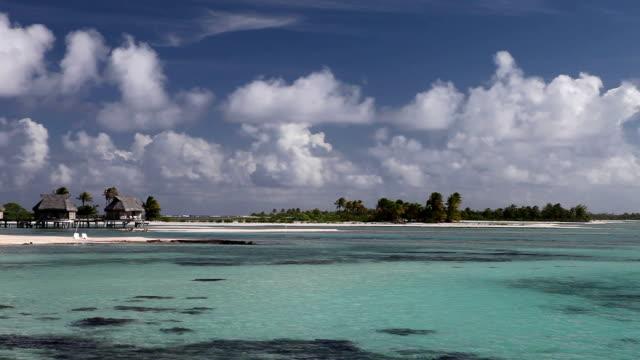 Blue lagoon with islands. Polynesia. video