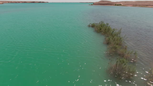 Blue lake in the middle of desert, drone aerial Blue brackish water lake in the middle of desert, filmed by drone desert oasis stock videos & royalty-free footage