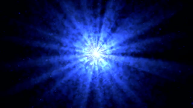 Blue light that spread through the smoke in a radial pattern video