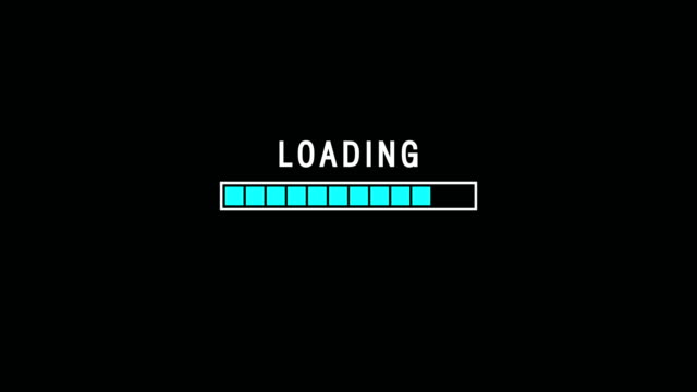 Blue Loading Bar Indicator On Dark Background Screen Animation Loading bar animation against a black background web browser stock videos & royalty-free footage