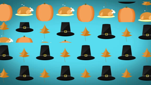 Blue Loopable 2D motion graphics Thanksgiving Background video