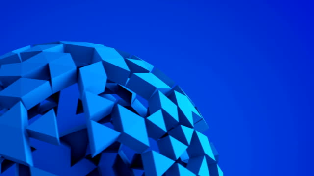 Blue low poly ball rotating seamless loop 3D render video