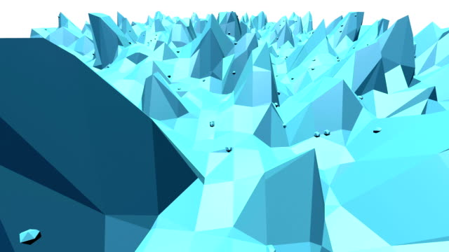 Blue low poly transforming surface as interesting environment. Blue polygonal geometric transforming environment or pulsating background in cartoon low poly popular modern stylish 3D design. video