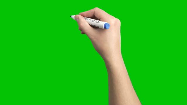 vídeos de stock e filmes b-roll de blue marker whiteboard  scribble male short strokes hand loop - caneta