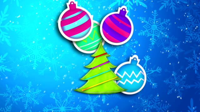 Blue Merry Christmas Art Paper Card Animation video