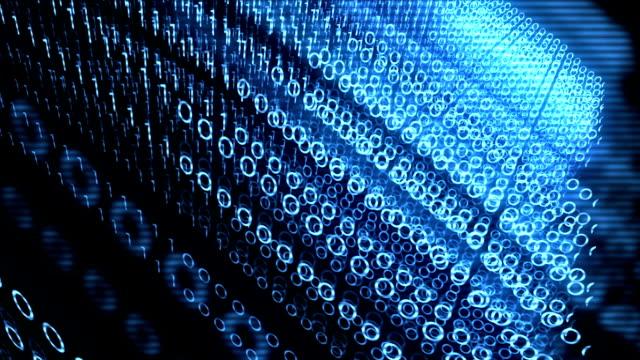 Blue modern cinematic binary code in digital cyber space wave video