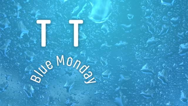 lunedì blu con una faccia triste che usa il testo con pioggia su una finestra - blue monday video stock e b–roll