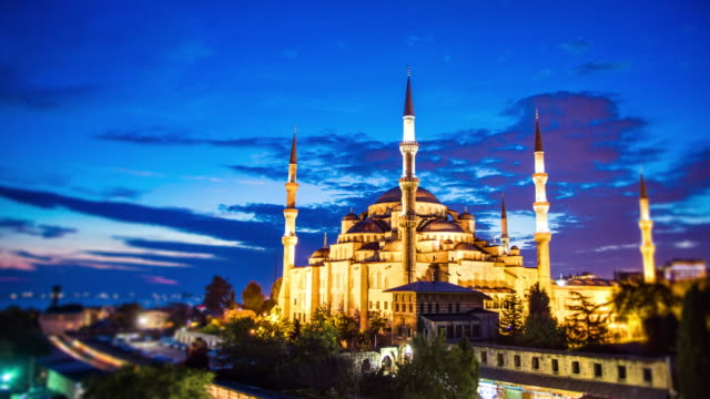 Blue mosque in Istanbul Day to night time-lapse of Blue Mosque (Sultan Ahmed) in Istanbul, Turkey. Tilt shift effect. istanbul stock videos & royalty-free footage