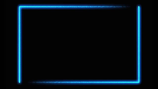 Blue neon frame border background with glowing lines - video animation