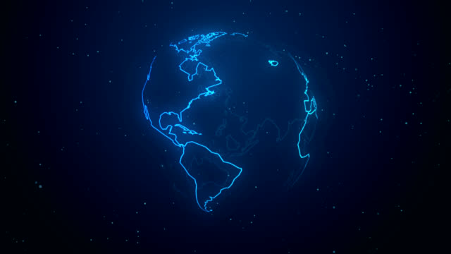 blue neon planet earth abstract hand drawn business concept light effect motion background global communication
