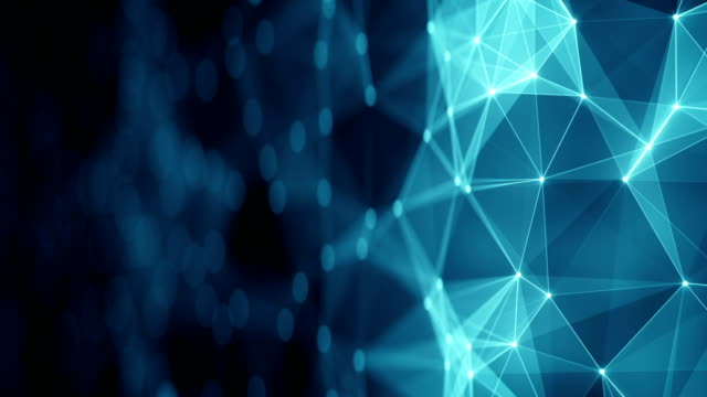 Blue network shape and free space loopable animation with DOF video
