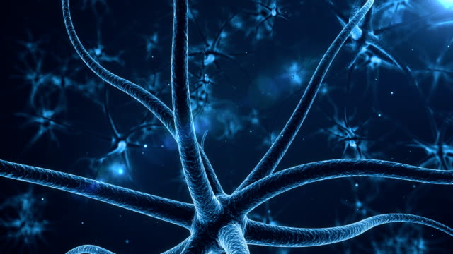 Blue Neurons with electric impulses video