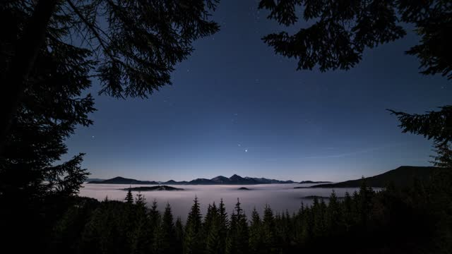 Blue nigh sky with stars in mountains forest with foggy clouds motion fast in evening nature landscape Time lapse Beautiufl nigh sky with stars in mountains forest with foggy clouds moving fast in blue evening nature landscape with spruce trees silhouette in foreground. Time lapse, Dolly shot, Zoom in trees in mist stock videos & royalty-free footage