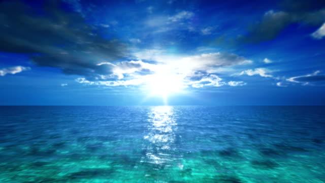 Blue ocean sunset video