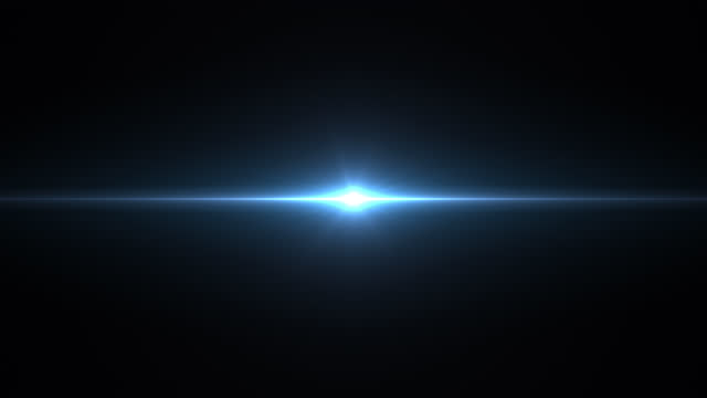 stockvideo's en b-roll-footage met blauwe optische lensglossie op zwarte achtergrond, digitale flitsen van licht, pulserende energie, videoproductie, naadloze lussen - lichtvlek