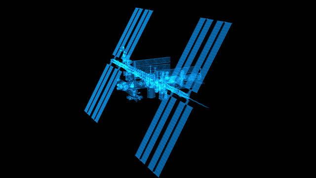 ISS - blue outline rotation loop video