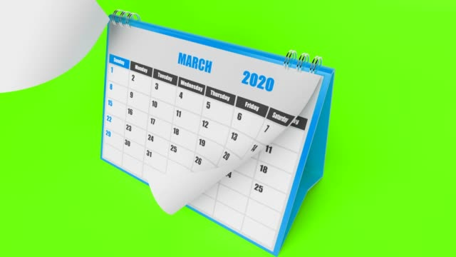 Blue Pages Of Calendar 2020 Year On Green Background