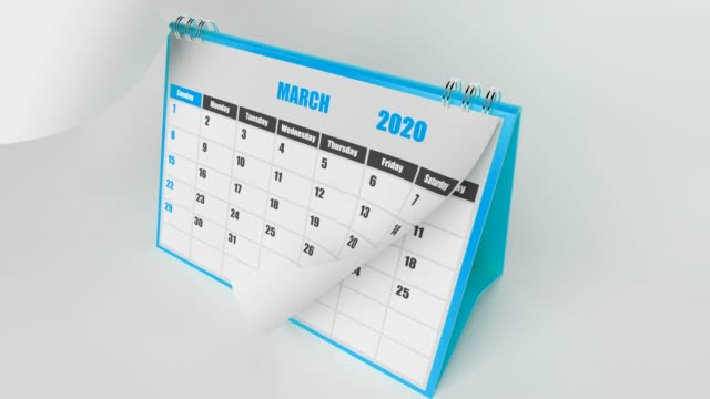 Blue Pages Of Calendar 2020 Year On White Background