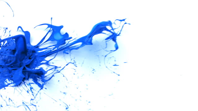 Blue paint splattering on white background video
