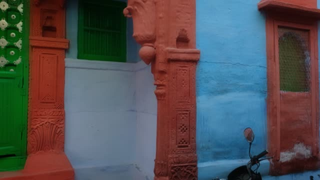 Blue painted house in famous Jodhpur the Blue City. Jodhpur, Rajasthan, India.
