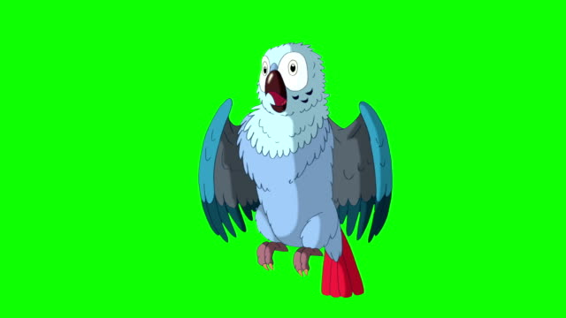 Blue Parrot Gets Angry. Classic Disney Style Animation video