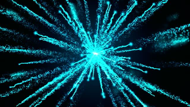 Explosión de fuegos artificiales de la partícula azul - vídeo