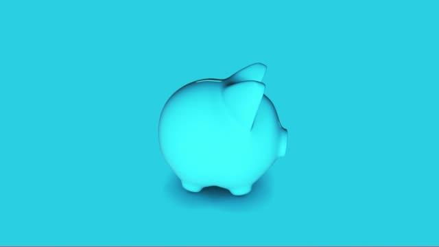 Blue Piggy Bank 4K