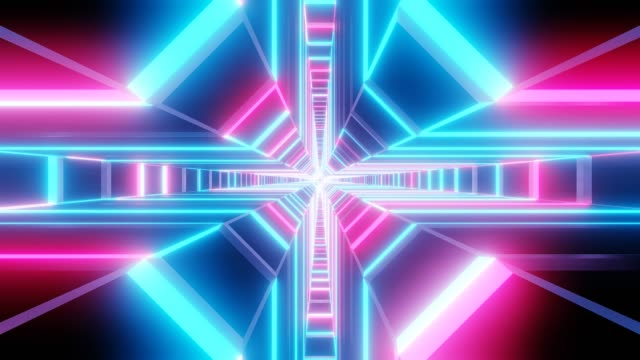 Blauw roze kruis vorm tunnel abstracte animatie.  lus in staat Sci-fi abstracte achtergrond. video