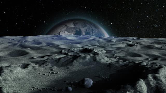 blue planet earth aus einem krater auf der mondoberfläche, kamera-enthüllung - europa kontinent stock-videos und b-roll-filmmaterial