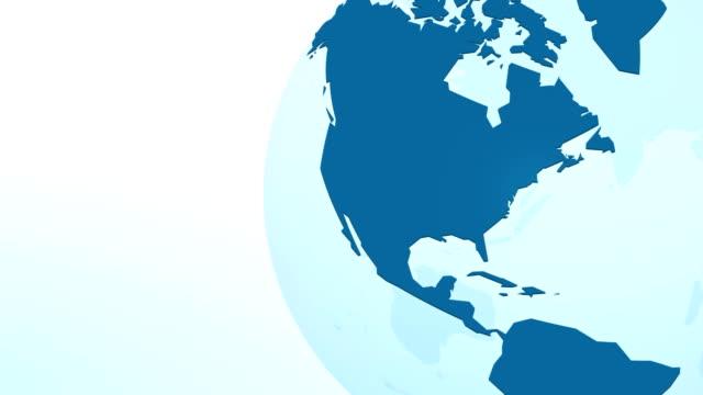 голубая планета земля петля анимации - континент географический объект стоковые видео и кадры b-roll