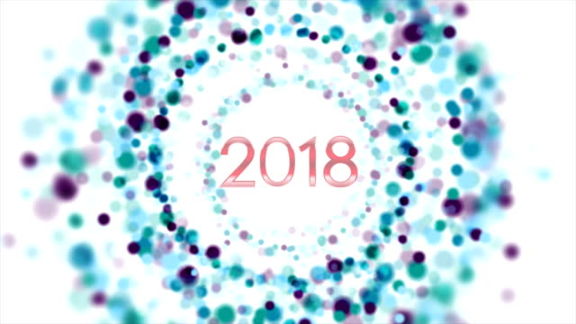 Blue purple particles New Year 2018 video animation video