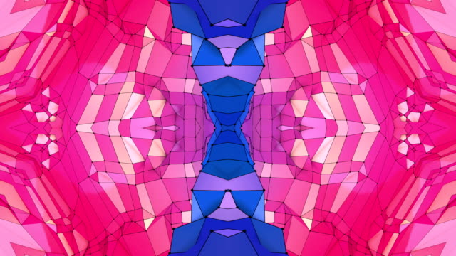 blue redlow poly geometric abstract background as a moving stained glass or kaleidoscope effect in 4k. Loop 3d animation, seamless footage in popular low poly style. V15 video