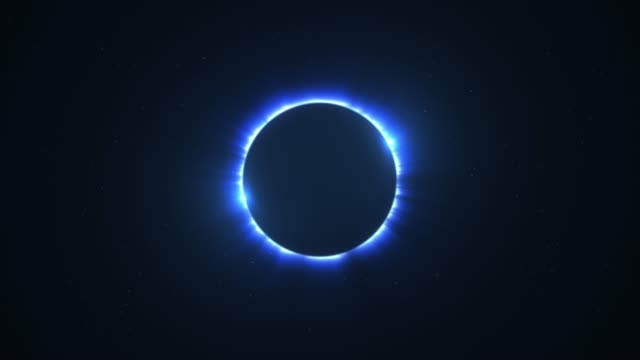 Blue Rotating Bright Twin Flared Solar Eclipse with Light Rays over Starry Sky Loop