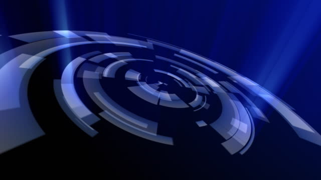 Blue rotating concentric circles. Loopable between 6:00 and 18:00 video