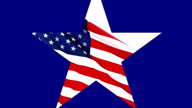 Blue scene with star opening up in middle to reveal an American Flag flying on white background. video