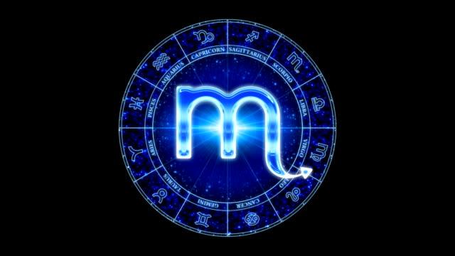 skorpion zodiac symbol blau - sportliga stock-videos und b-roll-filmmaterial