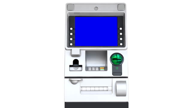 atm (automatic teller machine) blue screen display (loop) - banks and atms stock videos & royalty-free footage