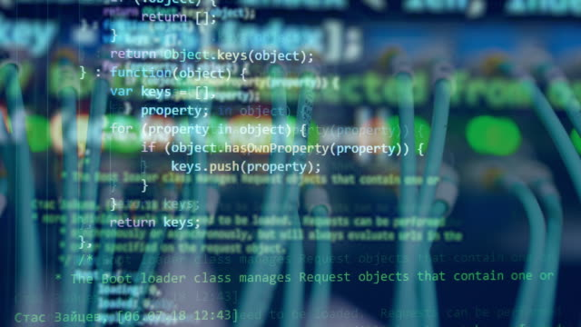 a blue screen with moving code. - spyware filmów i materiałów b-roll
