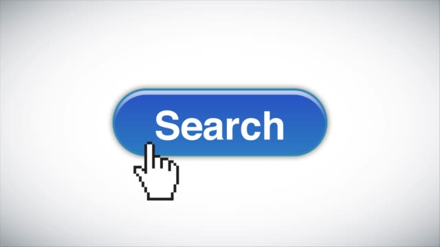 Blue Search Web Interface Button Clicked With Mouse Cursor 4K Stock Video