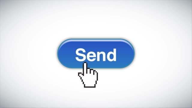 blue send web interface button geklickt mit mauscursor 4k stock video - e mail stock-videos und b-roll-filmmaterial