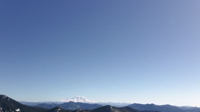 Blue Sky Above Mt Rainier Nature Background with Graphic Title Space