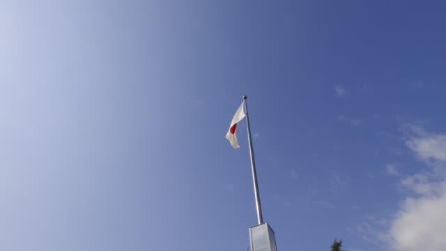 blue sky and japanese flag - insygnia filmów i materiałów b-roll