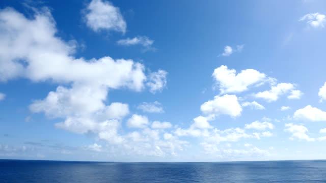 vídeos de stock e filmes b-roll de céu azul e mar - linha do horizonte sobre água