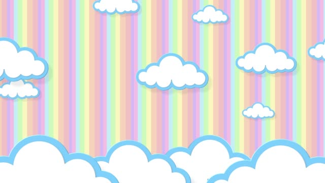 Blue sky full of clouds moving right to left. Cartoon sky animated gradient rainbow background. Flat animation. 4k
