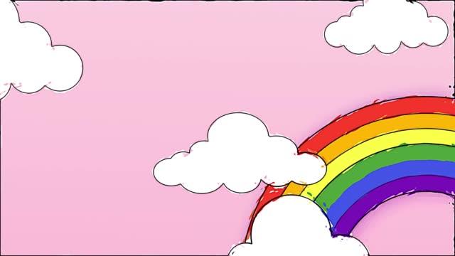 vídeos y material grabado en eventos de stock de cielo azul lleno de nubes moviéndose de derecha a izquierda. cielo de dibujos animados degradado fondo arco iris. animación plana. 4k - unicornio