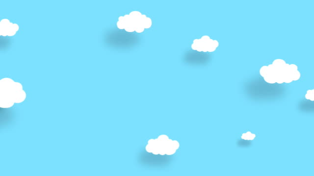 4K Blue sky full of clouds moving right to left. Cartoon sky background. Flat animation. Alpha Luma Matte included.