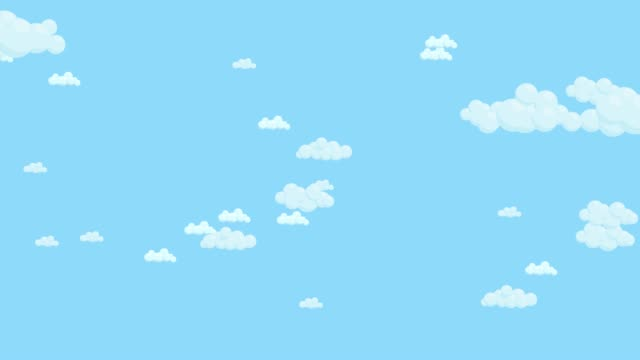Blue sky full of clouds moving right to left. Cartoon sky background. Flat animation.